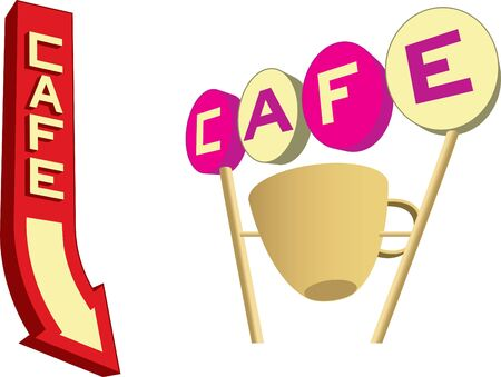 Set of four retro looking cafe signs at different angles.