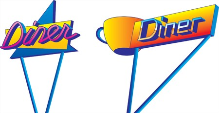 diner: A pair of retro looking diner signs in 1950s style. Illustration