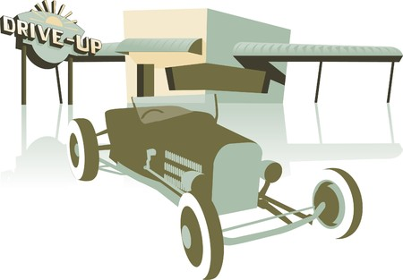 Retro looking illustration of a hot rod sitting in front of a drive up. Illustration