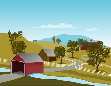 Illustration of a covered bridge in a rural country setting.