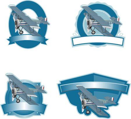 Collectie van etiketten met een bi-wing vliegtuig in koele kleuren.