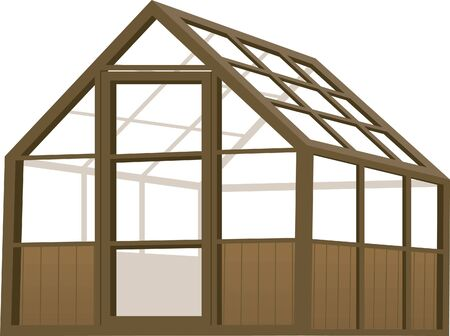 Illustration of a wood structure type greenhouse. Illustration