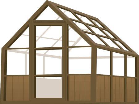 invernadero: Ilustraci�n de un invernadero de tipo de estructura de madera. Vectores