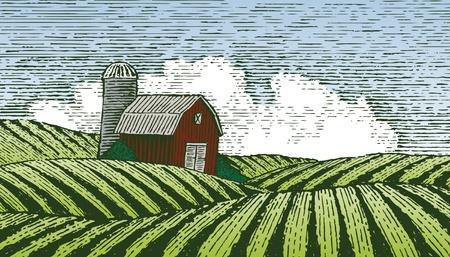 Woodcut style illustration of a rural farm scene. Illustration
