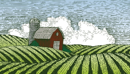 Woodcut style illustration of a rural farm scene. Illustration