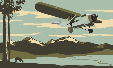 ford: Vintage looking illustration of an airliner flying over the mountains.