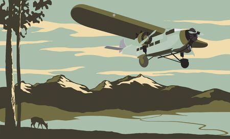 Vintage op zoek illustratie van een vliegtuig vliegt over de bergen.