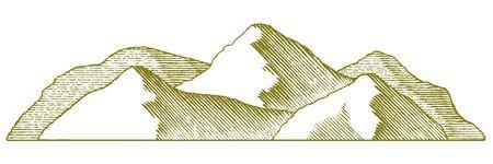 Woodcut style illustration of a mountain range. Illustration