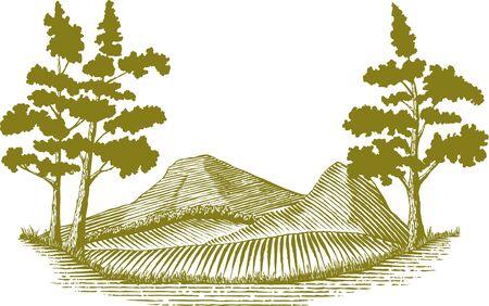 木版画荒野シーン