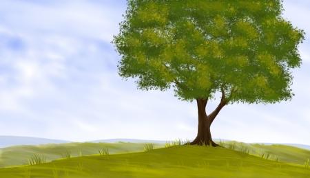 Het digitale schilderen van een boom landschap Stockfoto