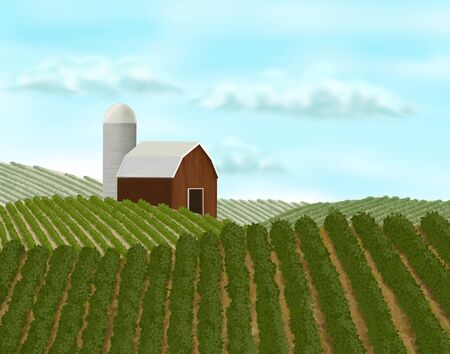 Digital painting of a barn landscape