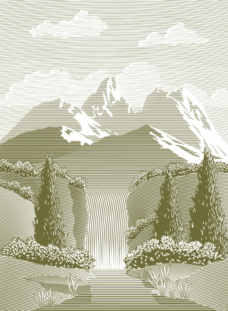 Woodcut style illustration of a mountain stream and waterfall.