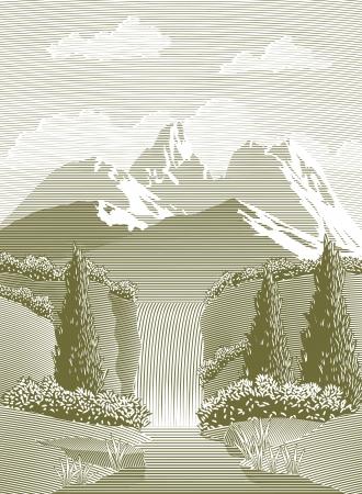 cascades: Xilografia stile illustrazione di un ruscello di montagna e cascata.
