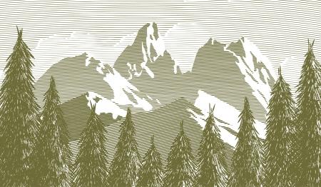 バック グラウンドでの山と木々 の隙間の木版画のスタイルの図。