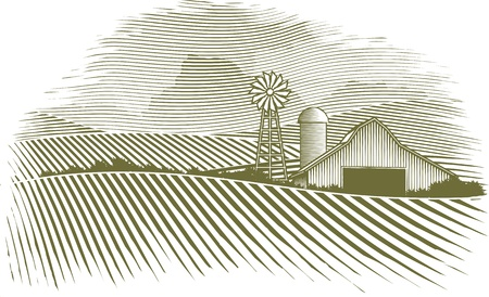 Woodcut Countryside Illustration