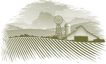 scratch board: Woodcut Countryside Illustration