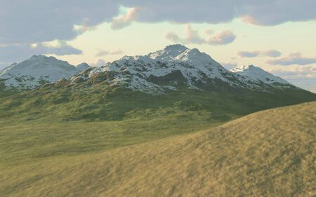3D rendering of a mountain landscape with clouds in the background.