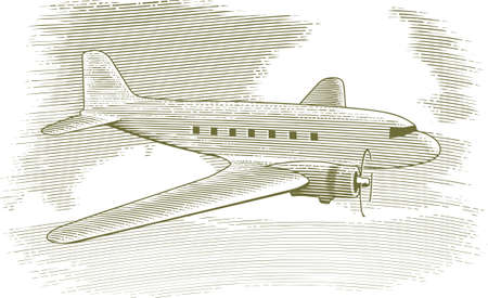 scratch board: Woodcut style illustration of a vintage airplane with clouds in the background.