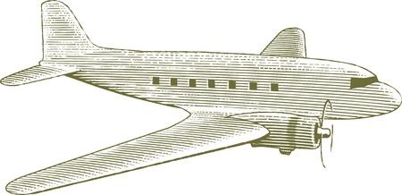 Houtsnede stijl illustratie van een vintage vliegtuig.