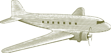 Woodcut style illustration of a vintage airplane. Illustration