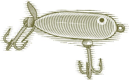 Woodcut style illustration of a fishing lure.