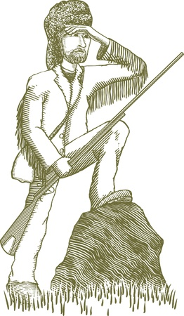 Woodcut style illustration of a mountain man explorer.