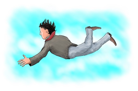 Digital painting of a businessman falling from the sky. Stock Photo