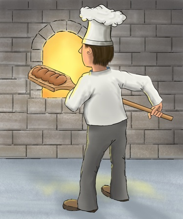 Digital painting of a baker taking bread out of an oven.