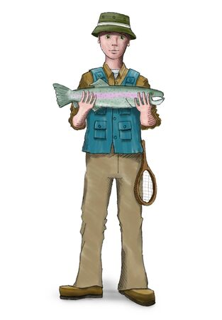 Digital painting of a fisherman holding a trout.