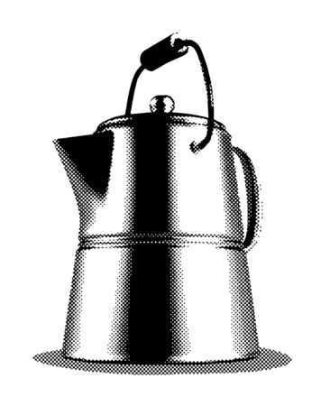 Illustration of an old coffee pot isolated on white.