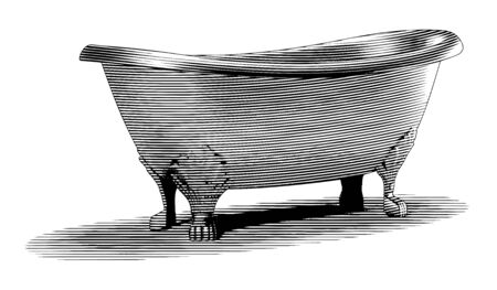 Engraved-style illustration of an old claw-foot bathtub. Stock Illustratie