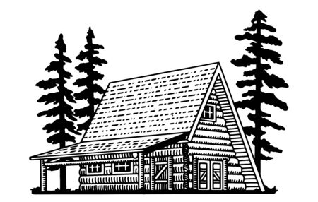 Illustration of a north woods-style a-frame lodge building.