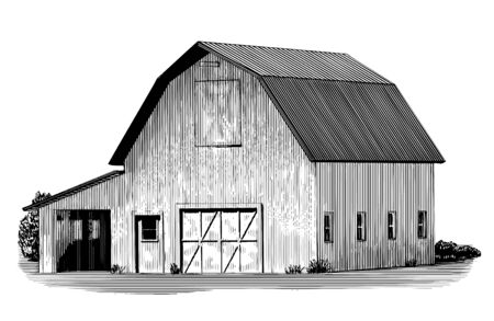 Engraved-style illustration of an old wooden barn. Illustration