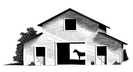 Engraved-style illustration of a horse stable with the silhouette of a horse inside the barn.