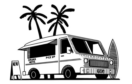 Illustration of a food truck with palm trees in the background.