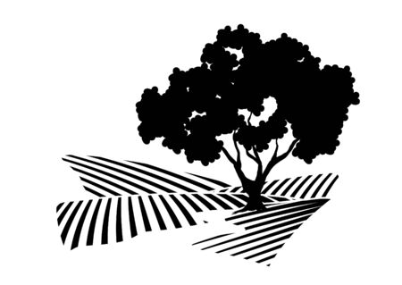 Vector illustration of a tree next to a stream.