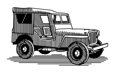 Illustration of a 4-wheel drive military vehicle.