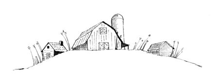 Pen and ink style illustration of an old barn/farm scene. Illusztráció