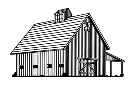 Illustration of an old wooden cow barn.