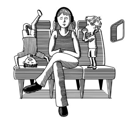 Illustration of a woman trying to ignore her two rowdy sons on a plane trip. Standard-Bild - 133200825