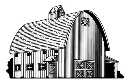 Illustration of a round-roof barn icon isolated. Çizim