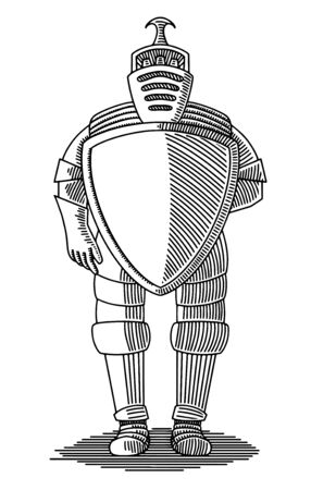 Illustration of a person in a metal suit of armor.