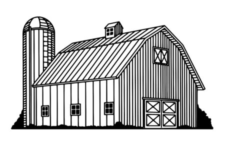 Illustration of a traditional barn and silo.
