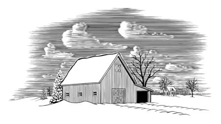 Woodcut illustration of a winter barn scene with snow on the ground.