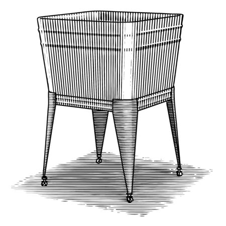 Woodcut illustration of an antique wash tub.