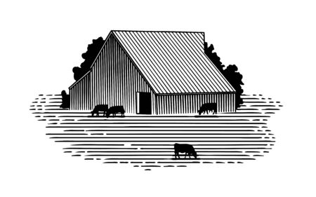 Woodcut illustration of a barn and cattle. Çizim
