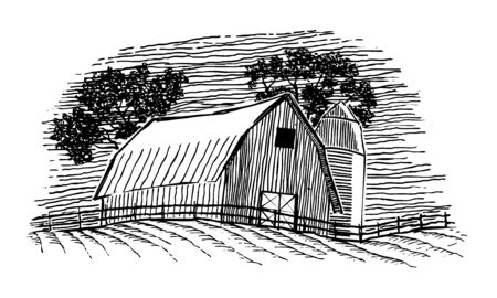 Woodcut illustration of a barn and silo.