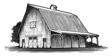 Illustrazione in stile xilografia di un vecchio fienile in legno. Vettoriali