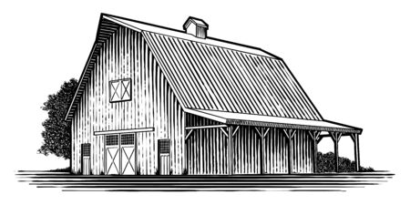 Woodcut-style illustration of an old wooden barn. Ilustração Vetorial