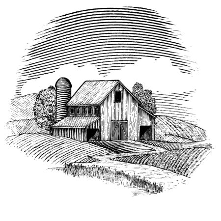 Woodcut illustration of a barn with rolling hills around it. Çizim